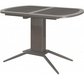 Кухонный стол Петра 1 стекло+кожа