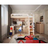 Угловая кровать-чердак с рабочим местом и шкафом Мультиплек