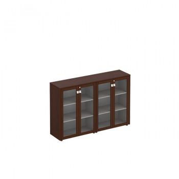Премьер Шкаф для документов средний со стеклянными дверьми ( стенка из 2 шкафов)