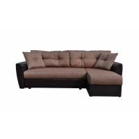 Диван угловой Andri еврокнижка коричневый со спальным местом 150 см экокожа / рогожка