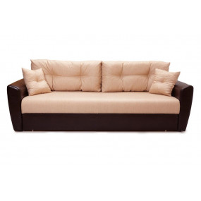Диван Andri еврокнижка бежевый коричневый со спальным местом 150 см экокожа / рогожка