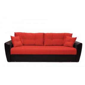 Диван Andri еврокнижка красный со спальным местом 150 см экокожа / рогожка