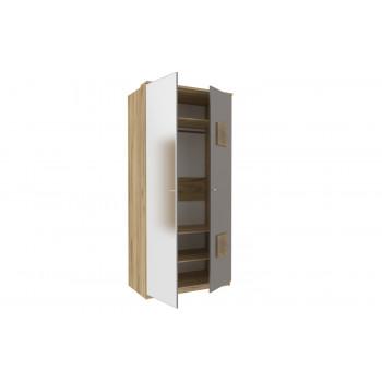Фиджи Шкаф двухстворчатый с декоративными накладками с зеркалом