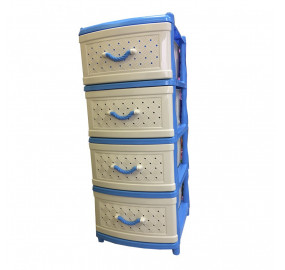 Комод 4 секции Элластик сетка цвет голубой