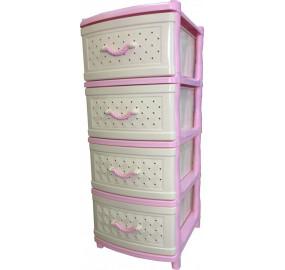 Комод 4 секции Элластик сетка цвет розовый