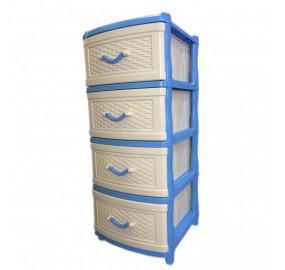 Комод 4 секции Элластик плетенка цвет голубой