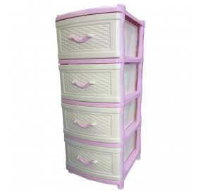 Комод 4 секции Элластик плетенка цвет розовый