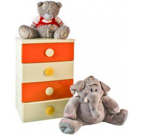 Комод 4 секции детский цельнолитой цвет оранжево-бежевый