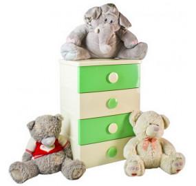 Комод 4 секции детский цельнолитой цвет зелено-бежевый