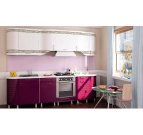 Кухня Анастасия тип 3 (Белый глянец / Ежевика)