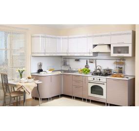 Кухня Анастасия тип 3 (Белый глянец / Капучино)
