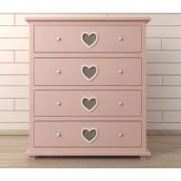 Комод Adelina 4 ящика розовый