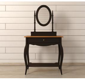Туалетный столик Leontina Black с зеркалом