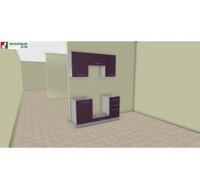 Кухня Анастасия тип 3 Белый глянец / Ежевика (выставочный образец)