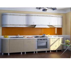 Кухня Анастасия тип 3 (Белый глянец/Капучино)