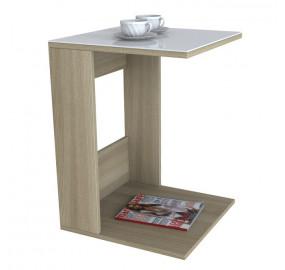 Журнальный столик Beauty Style 3 (Сонома/белое стекло)