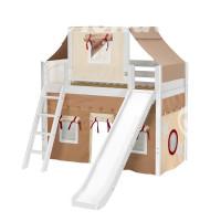 Кровать-чердак игровая с горкой из натурального дерева Капитан